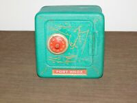 """VINTAGE 5 3/4"""" X 4"""" X 5 3/4"""" HIGH SUPERIOR TOY FORT KNOX METAL COMBINATION BANK"""