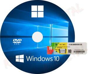 WINDOWS 10 PROFESSIONAL DVD con ADESIVO COA WIN PRO OEM PACK 32 64 BIT LICENZA