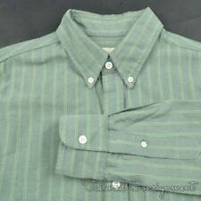 7fda9af3a BAND OF OUTSIDERS Green Oxford Striped 100% Cotton Casual Dress Shirt -  MEDIUM