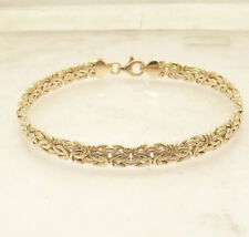 "8""  All Shiny Byzantine Bracelet with Lobster Lock Real 10K Yellow Gold 6mm"