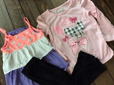 Jumping Beans Toddler Girl 3T Outfit Pink Bow Shirt Bow Black Leggings Pink Tank