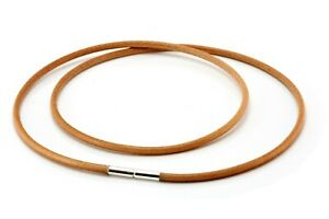 Unisex Leather Necklace-Sterling Silver Twist Clasp-3mm Natural Tan Greek Cord