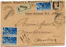 1930 Ferrucci coppia + singolo lire 1,25 frontespizio Assicurata RODIGO