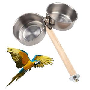 UK_ FJ- HN- 2Pcs Parrot Cage Stand Perch Food Water Feeding Clip Pet Double Bowl