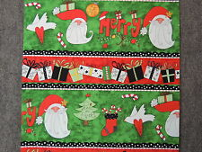 Merry Chirstmas Santa & Presents Stripes Quilting Fabric by Yard  #3036