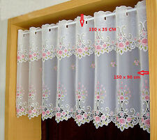 Pink rose great Embroidered Home decorate Kitchen Lace Sheer Cafe white Curtain
