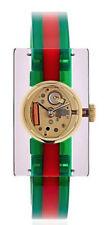 Gucci Vintage Web Plexiglas Skeleton Dial Gold PVD SS Green Red Watch YA143503