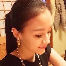 Nice Gothic Antique Snowflake Rhinestone Clip Ear Cuff Wrap Stud Earrings