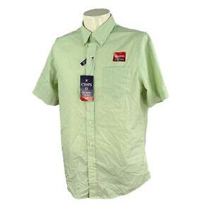 Chaps Men's Easy Care Short Sleeve Temp Control Green Print NWT Shirt Medium