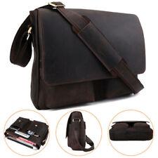 """Vintage Men Leather Satchel Shoulder Bag 14"""" Laptop Messenger Bag Cross Body Bag"""