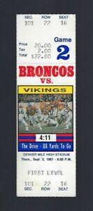JOHN ELWAY VINTAGE 1987 NFL VIKINGS @ DENVER BRONCOS FULL FOOTBALL TICKET