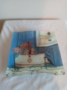 """8""""  Blue Glass Square Plate With Basket of Flowers & a Bird"""