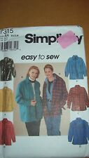 Simplicity 7315 Easy to Sew Misses Shirt-Jacket - sizes XS,S,M