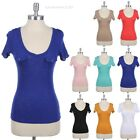 Scoop V Neck Slub Top with 2 Flap Pockets Short Sleeve T Shirt Fitted Casual