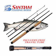 "SANTIAM FISHING RODS 4 PC 7'6"" 15-30LB SPINNING ALASKAN TRAVEl GRAPHITE WTUBE"