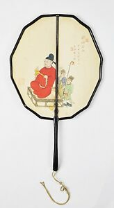 ANTIQUE LATE QING DYNAST SILK PAINTING SIGNED CALLIGRAPHY FAN PIEN MIEN