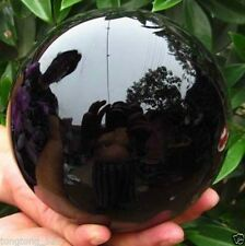 HOT SELL OBSIDIAN POLISHED BLACK CRYSTAL SPHERE BALL 110MM +STAND**