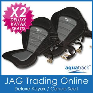 2 x DELUXE ADJUSTABLE PADDED CANOE/KAYAK SEATS HIGH BACK REST - AQUATRACK