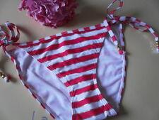 LA SENZA SEASIDE STRIPE BIKINI tie side briefs size 10 bnwt  PINK/RED rrp £12