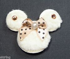 4 Padded Furry Mickey Minnie Mouse Appliques w/ bow, pearl, and Rhinestone 1.75""
