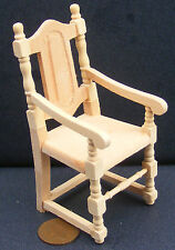 1:12 Scale Natural Finish Carver Dining Chair Dolls House Miniature Accessory 84
