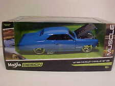 1966 Chevy Chevelle SS 396 Coupe Diecast Car 1:24 Maisto Design 8 inch Blue