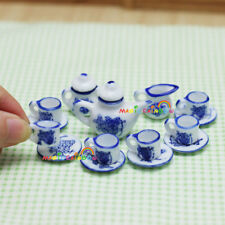 Dolls house Miniature 1:12 Porcelain Cup Saucer Teapot Pot Coffee Tea Set Dish