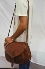 HANDMADE DESIGNER REAL LEATHER SATCHEL SADDLE BAG RETRO RUSTIC VINTAGE 13""