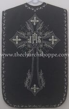 Black Roman Chasuble Fiddleback Vestment and 5pcs mass set IHS embroidery NEW