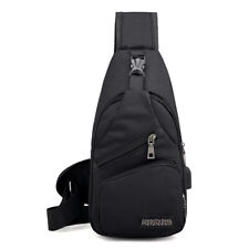Men Women Shoulder Bag Sling Chest Pack USB Charging Sports Crossbody Handbag