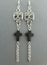 GOTHIC DAY OF THE DEAD SILVER SUGAR SKULL DROP EARRINGS BLACK CROSS CHAINS EMO