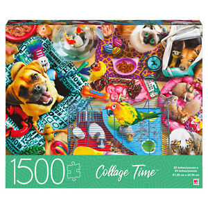 Collage Time Pets Dogs Cats Bird Bunny MB Jigsaw Colorful Puzzle 1500 PIECE NEW