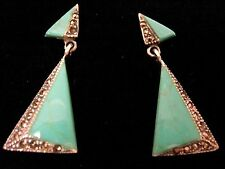 Sterling Silver Turquoise Marcasite Drop Earrings 1920s Deco Vintage style Gift