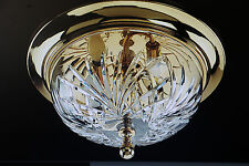 "Quality  Waterford Crystal Kilkenny 13"" Polished Brass Flush Mount Ceiling Light"