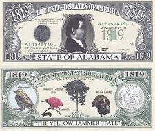 100 Alabama AL Patriotic State Quarter Novelty Bill Lot