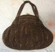 Vintage Chocolate Color Glass Beaded Evening Clutch Purse Handbag