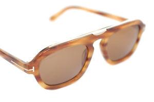 TOM FORD SEBASTIAN-02 TF736 55E Men Large Square Plastic Sunglasses BROWN HAVANA