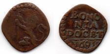 Z414 #Bologna Paolo V  1605-1621 Quattrino ae 1691 Bononia Docet   -qBB
