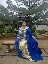 Plus Size 24/26W Blue Queen of Hearts Renaissance Dress Professional Costume