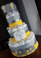 3 Tier Diaper Cake - Yellow and Gray Elephant Theme Polka Dots Diaper Cake