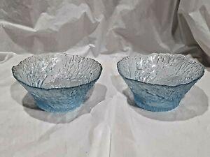 Set of 2 Vintage Ice Blue Glass Fruit Bowls  -Textured Glass