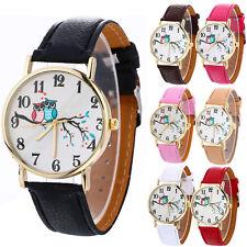 Cute Owl Pattern Classic Womens Men Fashion Leather Band Gold Dress Wrist Watch