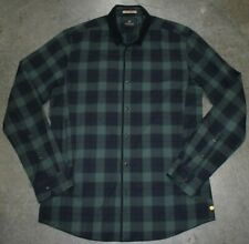 Scotch and Soda Long Sleeve Mens Button Down Shirt Green Plaid Check Size XL