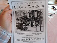 1910 B. Guy Warner Phonograph Victor Brooklyn NYC New York City Photo 8x10