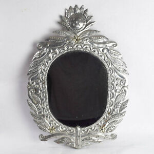 Vtg Mexican Handmade Punched Tin Oval Mirror Sun Face Floral Scrolls Boho