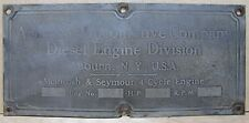 Old AMERICAN LOCOMOTIVE Co Diesel Engine Auburn NY USA Builder Name Plate Sign