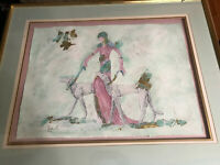"Huge Impressive ""Female With Two Dogs"" Mixed Media Painting - Signed And Framed"