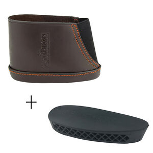 Tourbon Hunting Gun ButtPad Rubber Plate & Slip-on Leather Butt Stock Recoil Pad