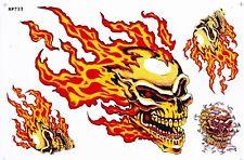 Aufkleber Sticker Decal Totenkopf Flammen Back to hell Biker 27x18cm  -s1a8