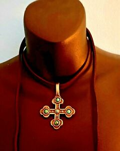 Stamped Cross Pendant Two Sided Leather Necklace * Natural Turquoise * $245